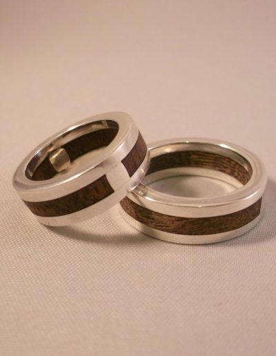 Silver & wood rings
